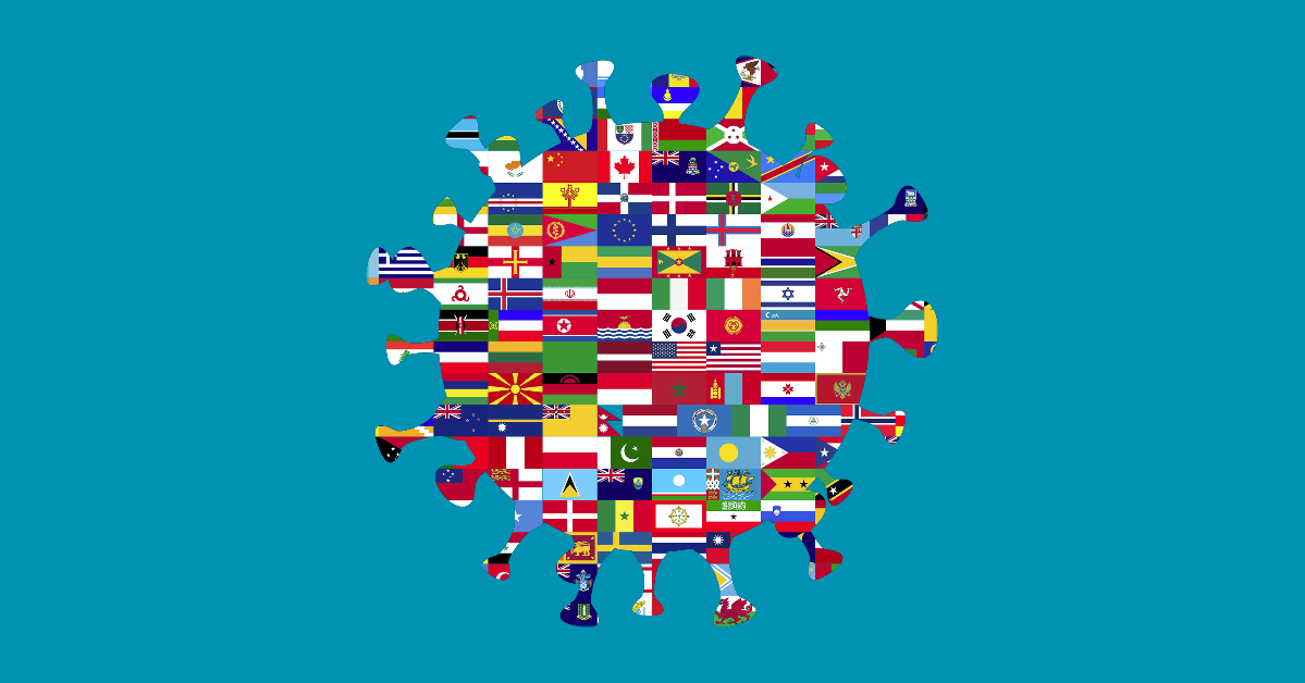 COVID-19 as a college of world flags.