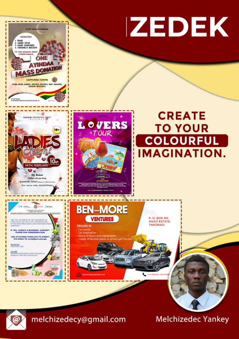 Sample graphic design works by student entrepreneur in Ghana. Photo Credit: Melchizedec Yankey